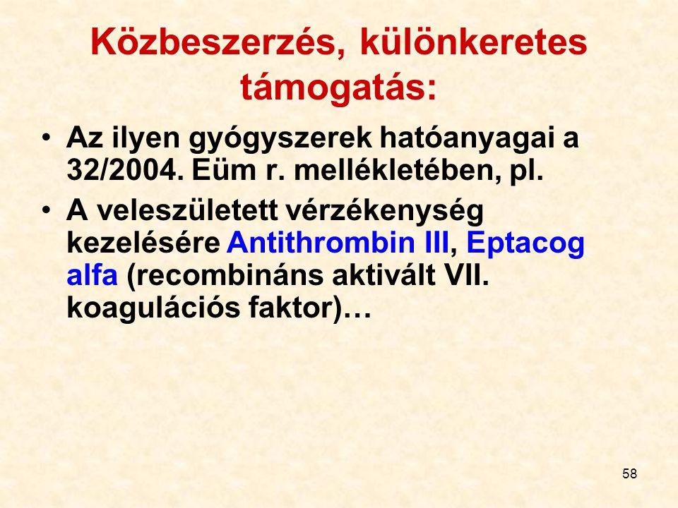 58 Közbeszerzés, különkeretes támogatás: Az ilyen gyógyszerek hatóanyagai a 32/2004. Eüm r. mellékletében, pl. A veleszületett vérzékenység kezelésére