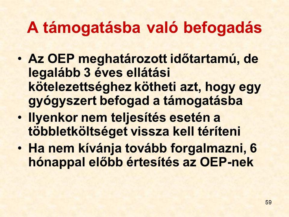 59 A támogatásba való befogadás Az OEP meghatározott időtartamú, de legalább 3 éves ellátási kötelezettséghez kötheti azt, hogy egy gyógyszert befogad a támogatásba Ilyenkor nem teljesítés esetén a többletköltséget vissza kell téríteni Ha nem kívánja tovább forgalmazni, 6 hónappal előbb értesítés az OEP-nek