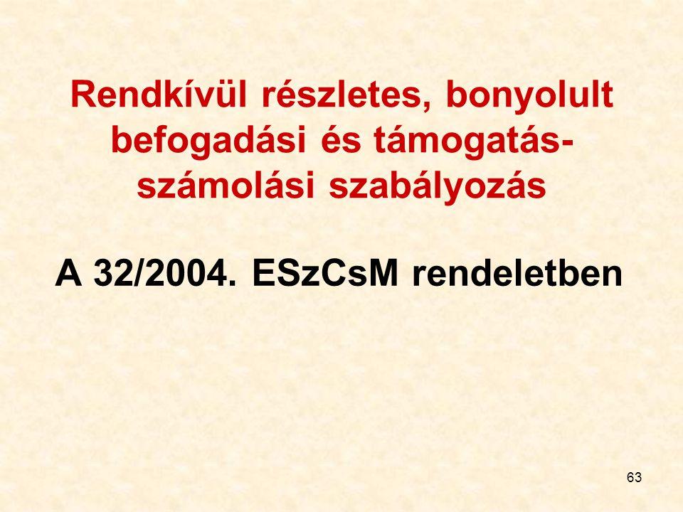 63 Rendkívül részletes, bonyolult befogadási és támogatás- számolási szabályozás A 32/2004. ESzCsM rendeletben