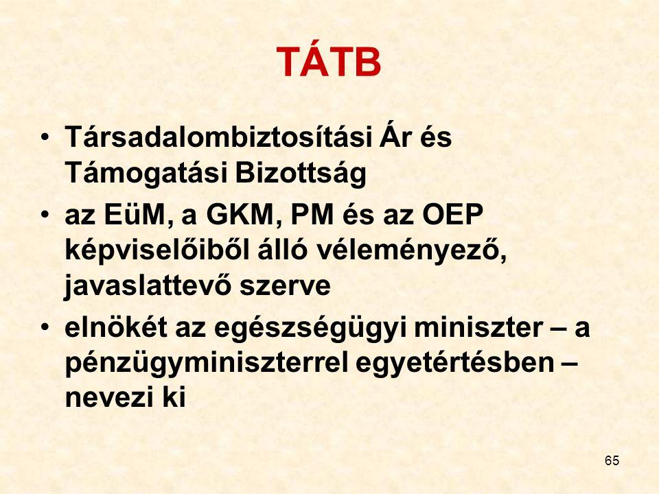 65 TÁTB Társadalombiztosítási Ár és Támogatási Bizottság az EüM, a GKM, PM és az OEP képviselőiből álló véleményező, javaslattevő szerve elnökét az eg