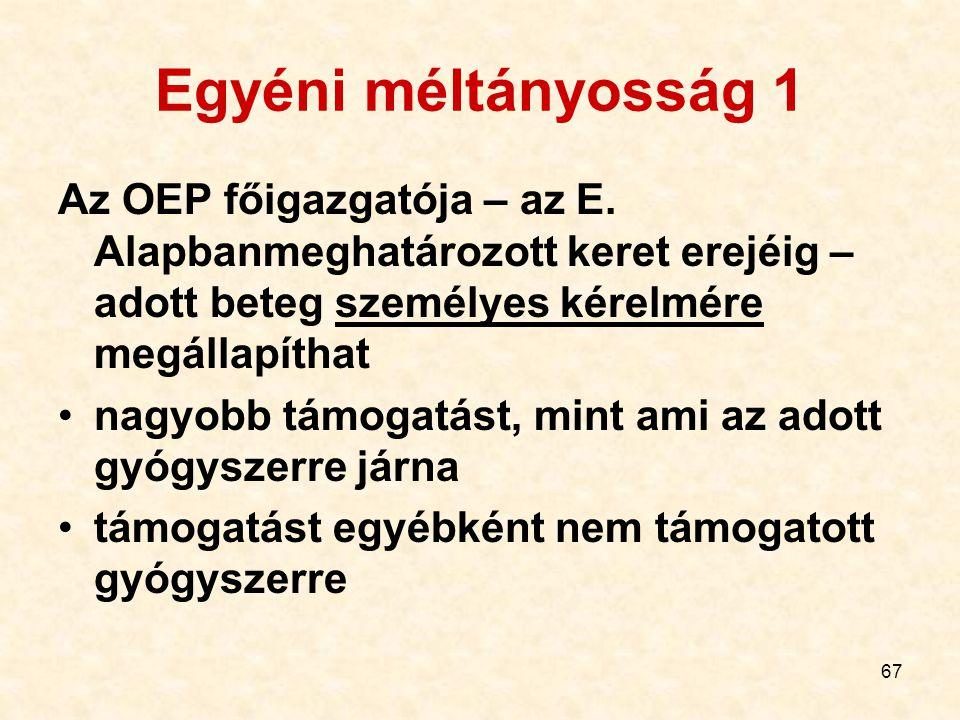 67 Egyéni méltányosság 1 Az OEP főigazgatója – az E.