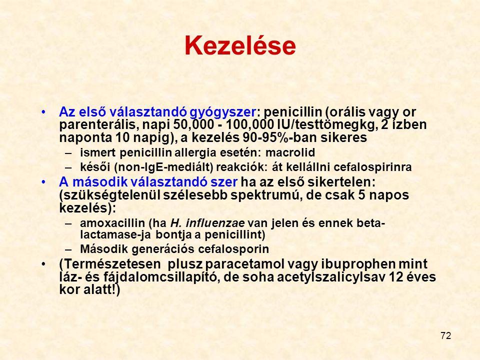 72 Kezelése Az első választandó gyógyszer: penicillin (orális vagy or parenterális, napi 50,000 - 100,000 IU/testtömegkg, 2 ízben naponta 10 napig), a kezelés 90-95%-ban sikeres –ismert penicillin allergia esetén: macrolid –késői (non-IgE-mediált) reakciók: át kellállni cefalospirinra A második választandó szer ha az első sikertelen: (szükségtelenül szélesebb spektrumú, de csak 5 napos kezelés): –amoxacillin (ha H.