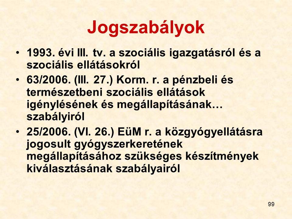 99 Jogszabályok 1993. évi III. tv. a szociális igazgatásról és a szociális ellátásokról 63/2006. (III. 27.) Korm. r. a pénzbeli és természetbeni szoci