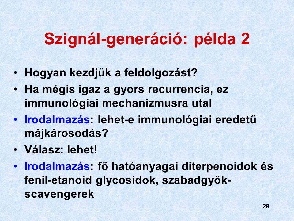 28 Szignál-generáció: példa 2 Hogyan kezdjük a feldolgozást.