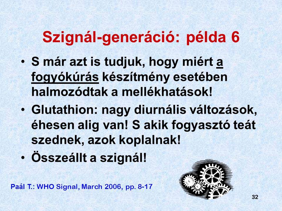 32 Szignál-generáció: példa 6 S már azt is tudjuk, hogy miért a fogyókúrás készítmény esetében halmozódtak a mellékhatások.
