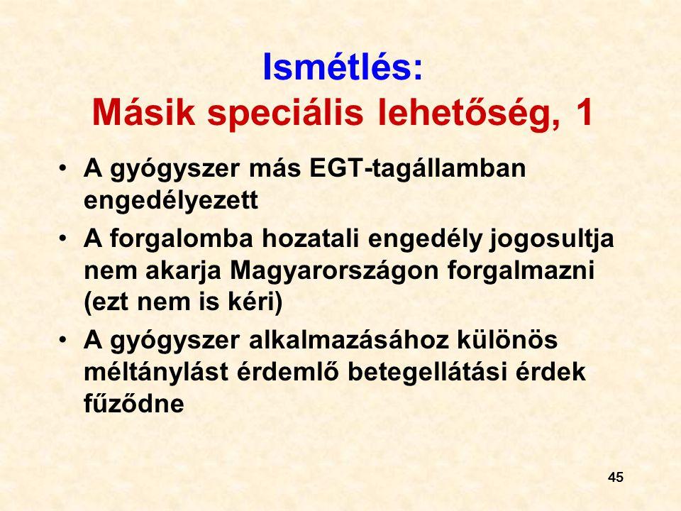 45 Ismétlés: Másik speciális lehetőség, 1 A gyógyszer más EGT-tagállamban engedélyezett A forgalomba hozatali engedély jogosultja nem akarja Magyarországon forgalmazni (ezt nem is kéri) A gyógyszer alkalmazásához különös méltánylást érdemlő betegellátási érdek fűződne