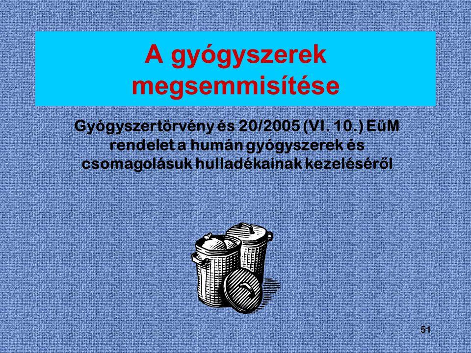 51 A gyógyszerek megsemmisítése Gyógyszertörvény és 20/2005 (VI.
