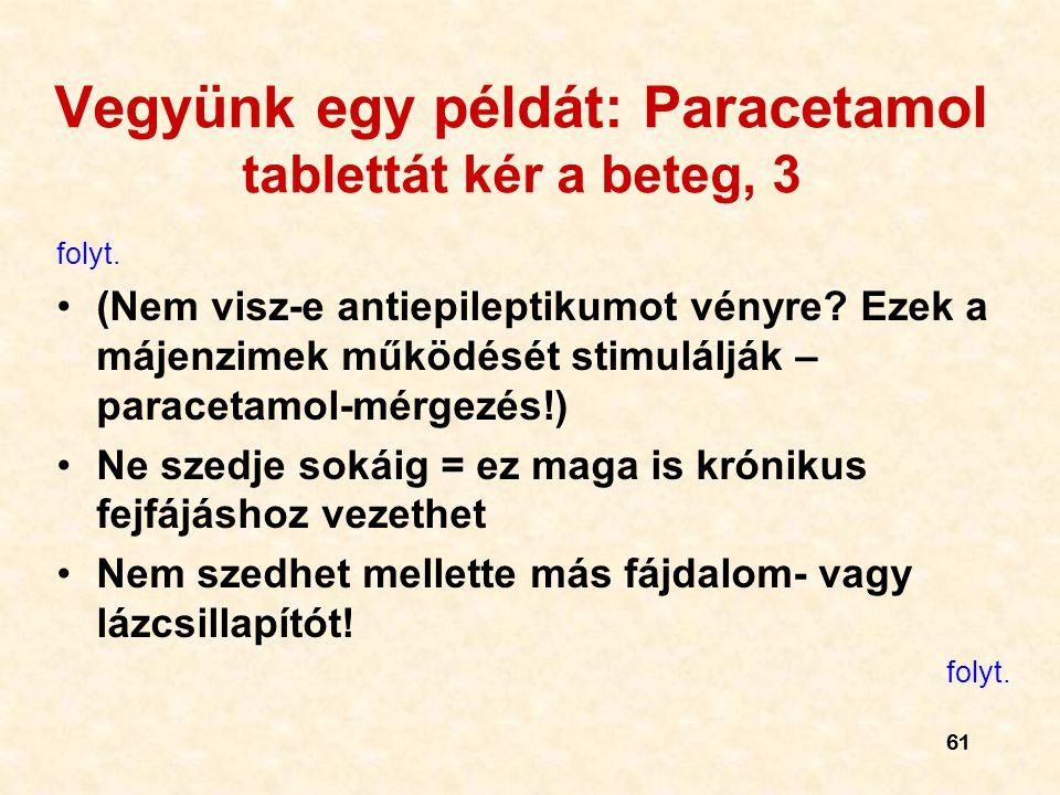 61 Vegyünk egy példát: Paracetamol tablettát kér a beteg, 3 folyt.