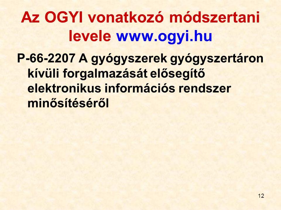 12 Az OGYI vonatkozó módszertani levele www.ogyi.hu P-66-2207 A gyógyszerek gyógyszertáron kívüli forgalmazását elősegítő elektronikus információs rendszer minősítéséről