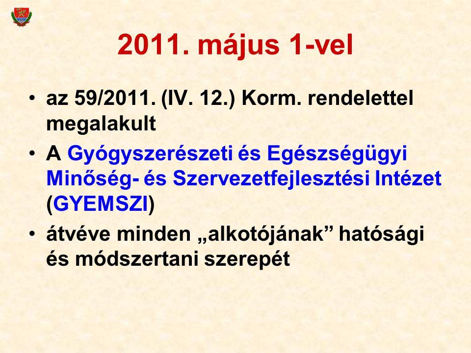 2011. május 1-vel az 59/2011. (IV. 12.) Korm. rendelettel megalakult A Gyógyszerészeti és Egészségügyi Minőség- és Szervezetfejlesztési Intézet (GYEMS
