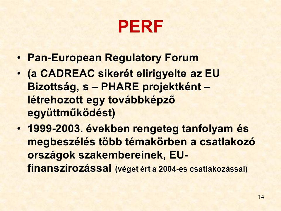 14 PERF Pan-European Regulatory Forum (a CADREAC sikerét elirigyelte az EU Bizottság, s – PHARE projektként – létrehozott egy továbbképző együttműködé