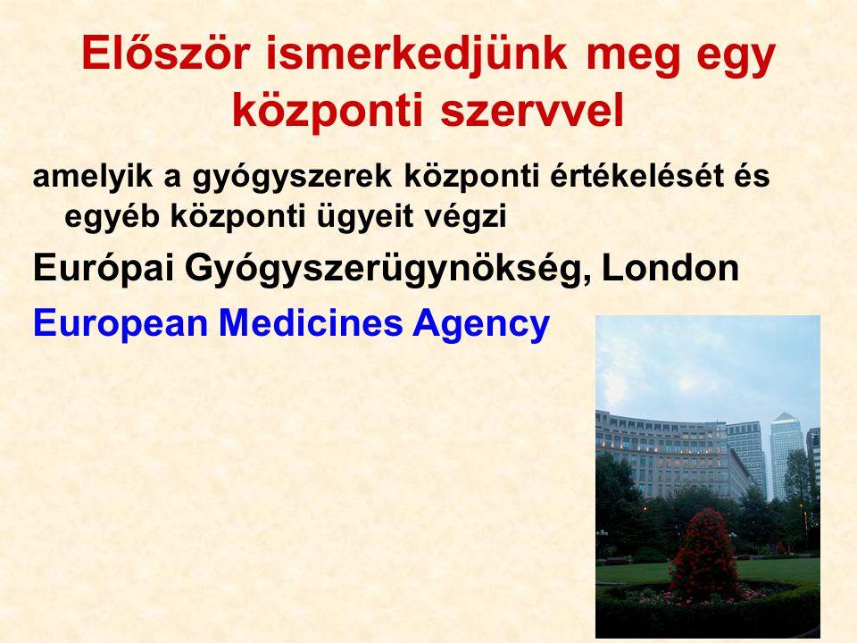20 Először ismerkedjünk meg egy központi szervvel amelyik a gyógyszerek központi értékelését és egyéb központi ügyeit végzi Európai Gyógyszerügynökség