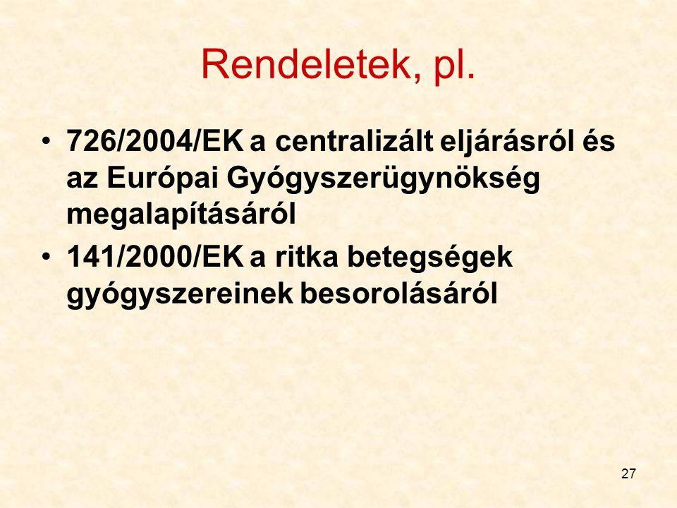 27 Rendeletek, pl. 726/2004/EK a centralizált eljárásról és az Európai Gyógyszerügynökség megalapításáról 141/2000/EK a ritka betegségek gyógyszereine