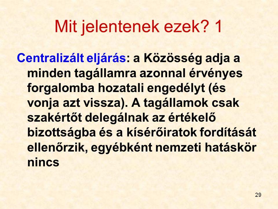 29 Mit jelentenek ezek? 1 Centralizált eljárás: a Közösség adja a minden tagállamra azonnal érvényes forgalomba hozatali engedélyt (és vonja azt vissz