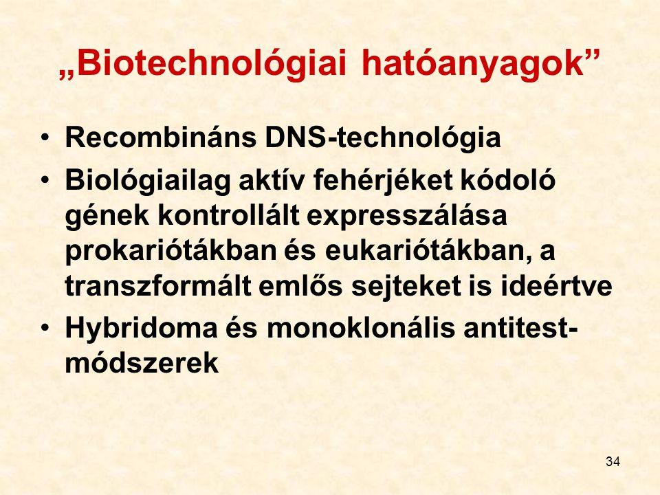 """34 """"Biotechnológiai hatóanyagok"""" Recombináns DNS-technológia Biológiailag aktív fehérjéket kódoló gének kontrollált expresszálása prokariótákban és eu"""