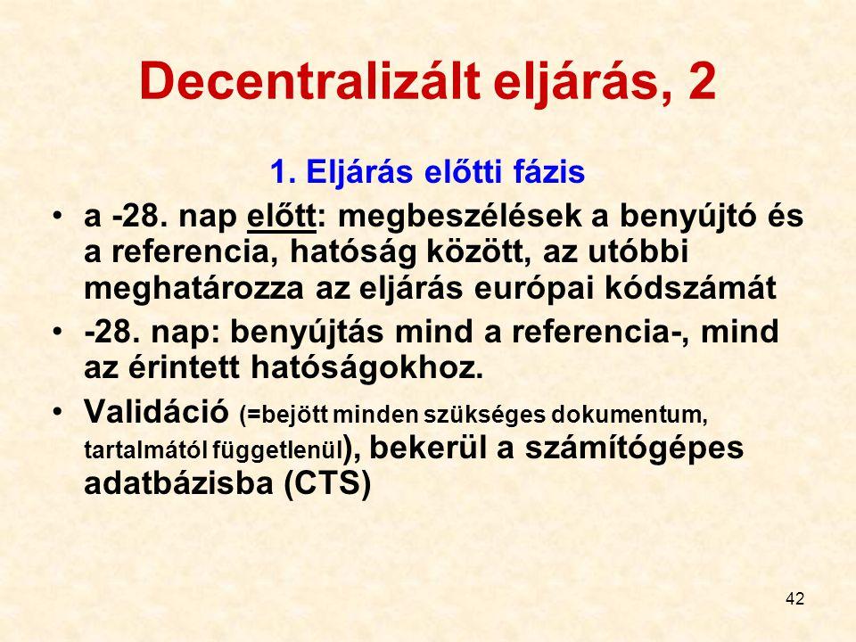42 Decentralizált eljárás, 2 1. Eljárás előtti fázis a -28. nap előtt: megbeszélések a benyújtó és a referencia, hatóság között, az utóbbi meghatározz