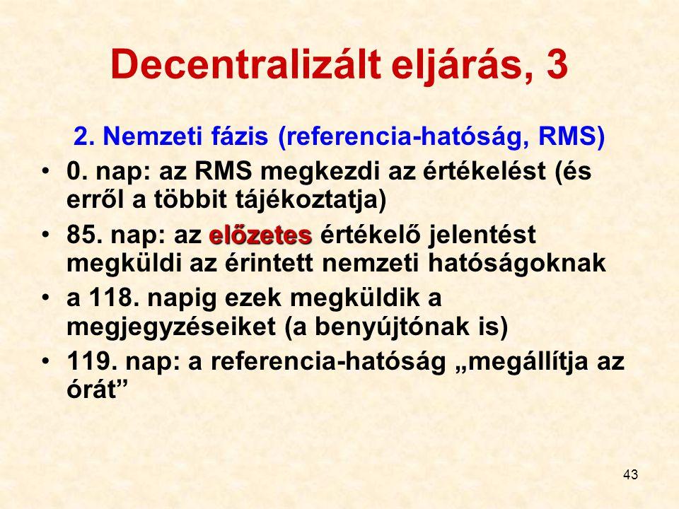 43 Decentralizált eljárás, 3 2. Nemzeti fázis (referencia-hatóság, RMS) 0. nap: az RMS megkezdi az értékelést (és erről a többit tájékoztatja) előzete