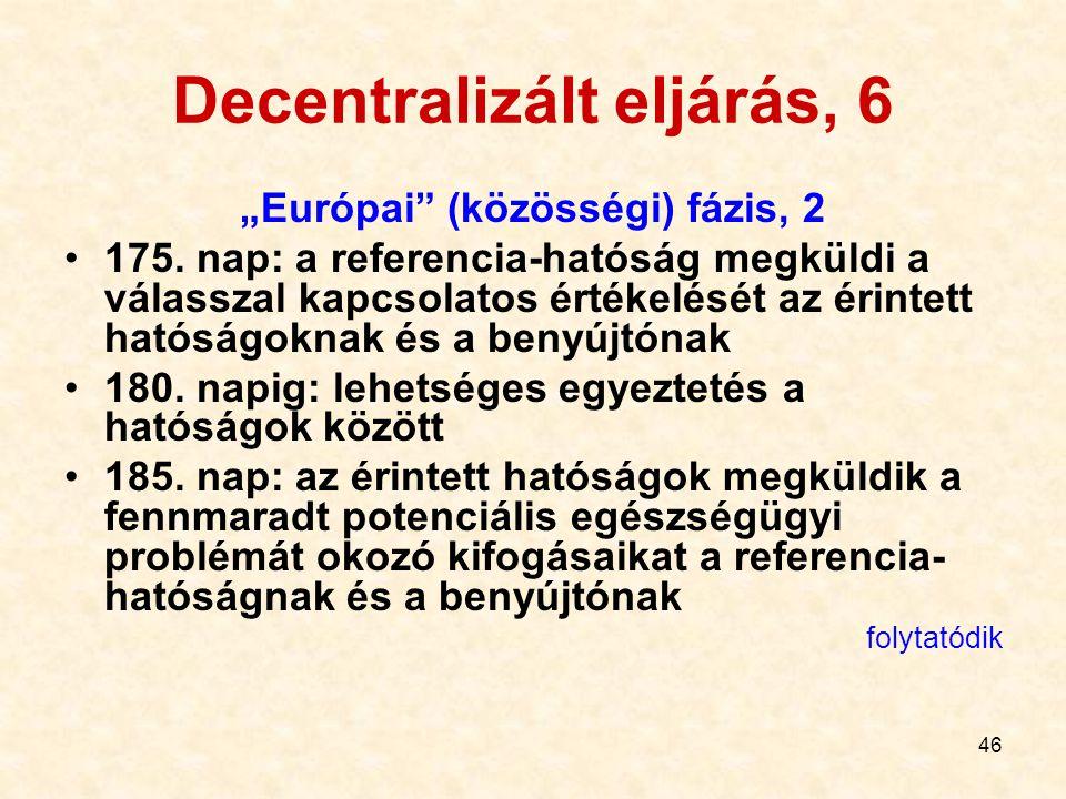 """46 Decentralizált eljárás, 6 """"Európai"""" (közösségi) fázis, 2 175. nap: a referencia-hatóság megküldi a válasszal kapcsolatos értékelését az érintett ha"""