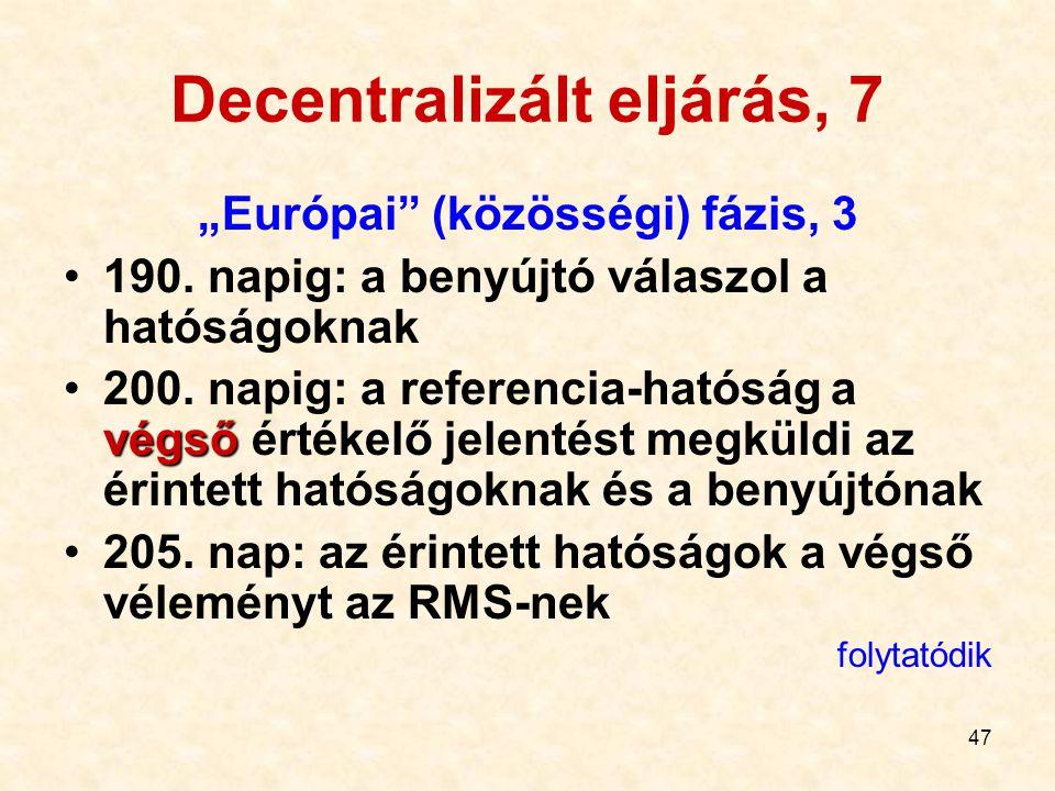"""47 Decentralizált eljárás, 7 """"Európai"""" (közösségi) fázis, 3 190. napig: a benyújtó válaszol a hatóságoknak végső200. napig: a referencia-hatóság a vég"""