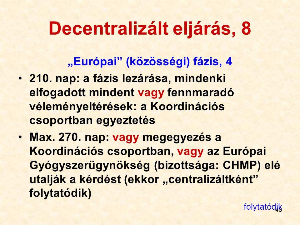 """48 Decentralizált eljárás, 8 """"Európai"""" (közösségi) fázis, 4 210. nap: a fázis lezárása, mindenki elfogadott mindent vagy fennmaradó véleményeltérések:"""