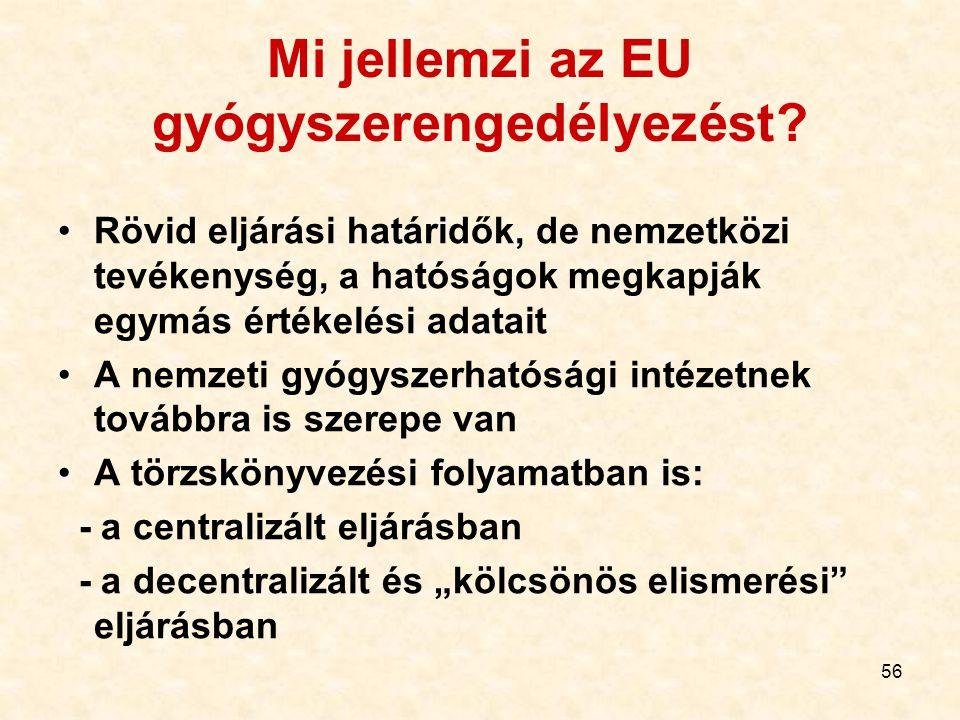 56 Mi jellemzi az EU gyógyszerengedélyezést? Rövid eljárási határidők, de nemzetközi tevékenység, a hatóságok megkapják egymás értékelési adatait A ne