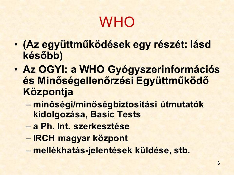 6 WHO (Az együttműködések egy részét: lásd később) Az OGYI: a WHO Gyógyszerinformációs és Minőségellenőrzési Együttműködő Központja –minőségi/minőségb