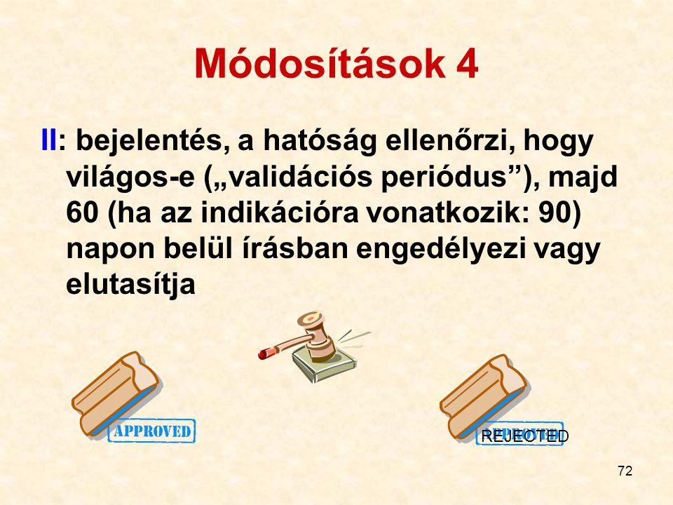"""72 Módosítások 4 II: bejelentés, a hatóság ellenőrzi, hogy világos-e (""""validációs periódus""""), majd 60 (ha az indikációra vonatkozik: 90) napon belül í"""