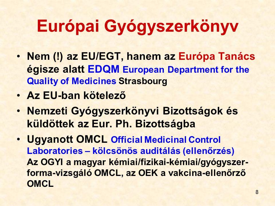 8 Nem (!) az EU/EGT, hanem az Európa Tanács égisze alatt EDQM European Department for the Quality of Medicines Strasbourg Az EU-ban kötelező Nemzeti G