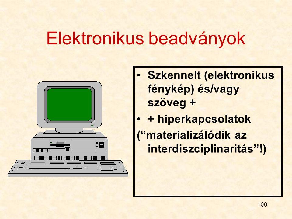 99 Egy új beadvány-típus Elektronikus beadványok: papír helyett (mellett) CD-ROM Korábban is (az OGYI a II. Európában, több, mint 100) Néhány éven bel