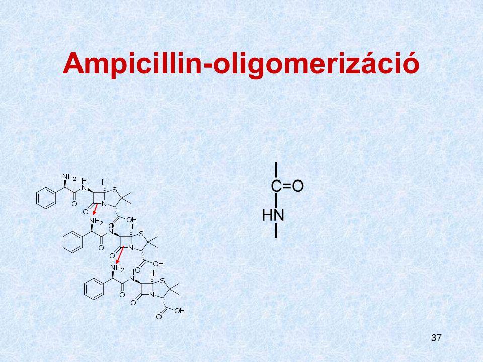 """36 Aminopenicillin-bomlástermék, mint """"előhívó"""" (eliciting) antigén Az egyik penicillin béta-laktámja reagál másik penicillin oldalláncán lévő aminocs"""