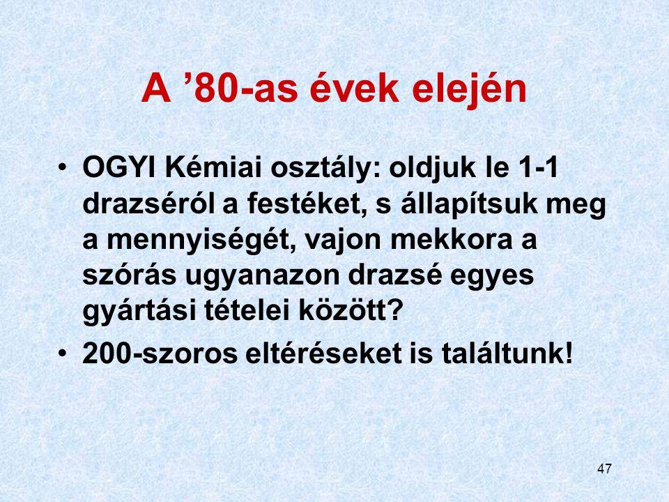 46 30 évvel ezelőtt, egy magyar gyógyszergyárban… Beadvány: a drazsé segédanyag-összetétele (kvantitatív) mintha más lenne a dokumentáció különböző ré