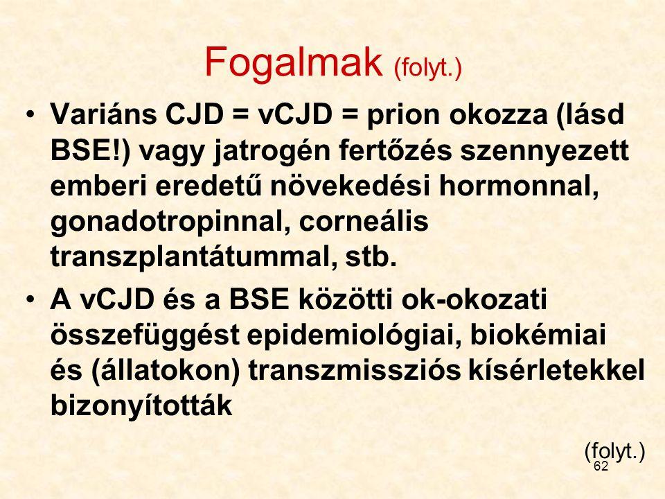 61 Előjáróban néhány fogalom Creutzfeld-Jacob Disease = CJD = fatális neurodegeneratív állapot. A betegeken gyorsan progrediáló demencia fejlődik ki S