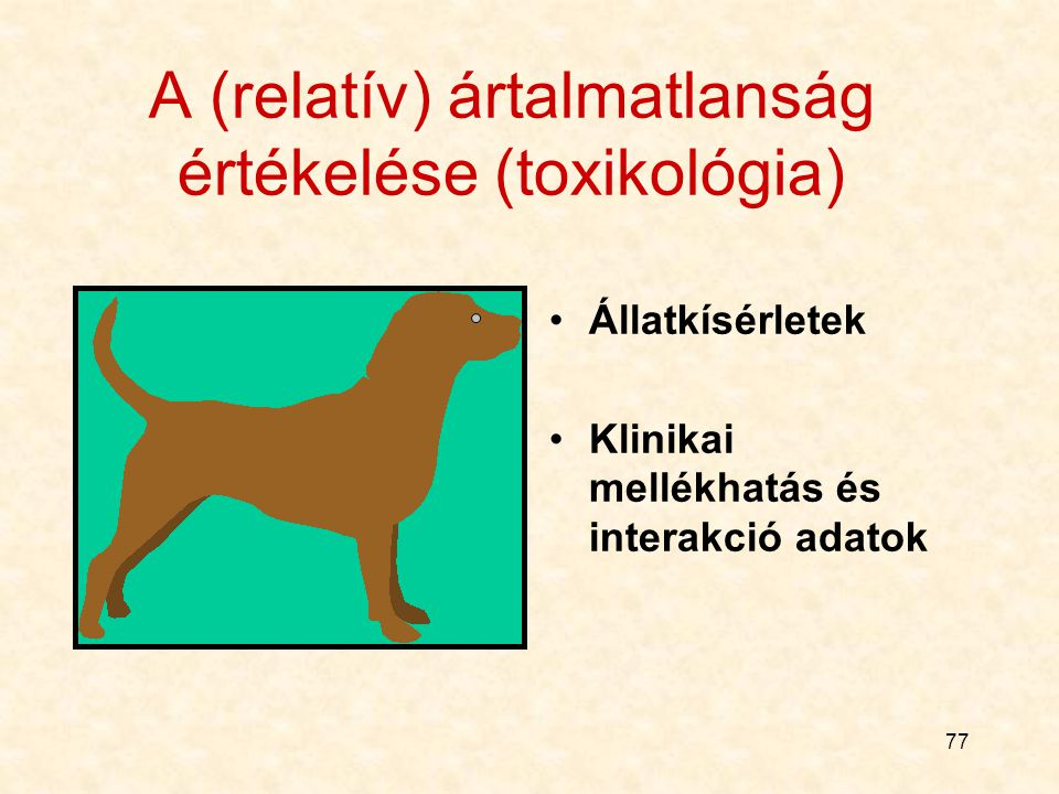 76 Állatkísérletes vizsgálatok Állatfajok szerint rágcsáló (egér, patkány, hörcsög), nyúl, kutya, majom, (esetleg nem emlõsön) Beadási mód szerint orá