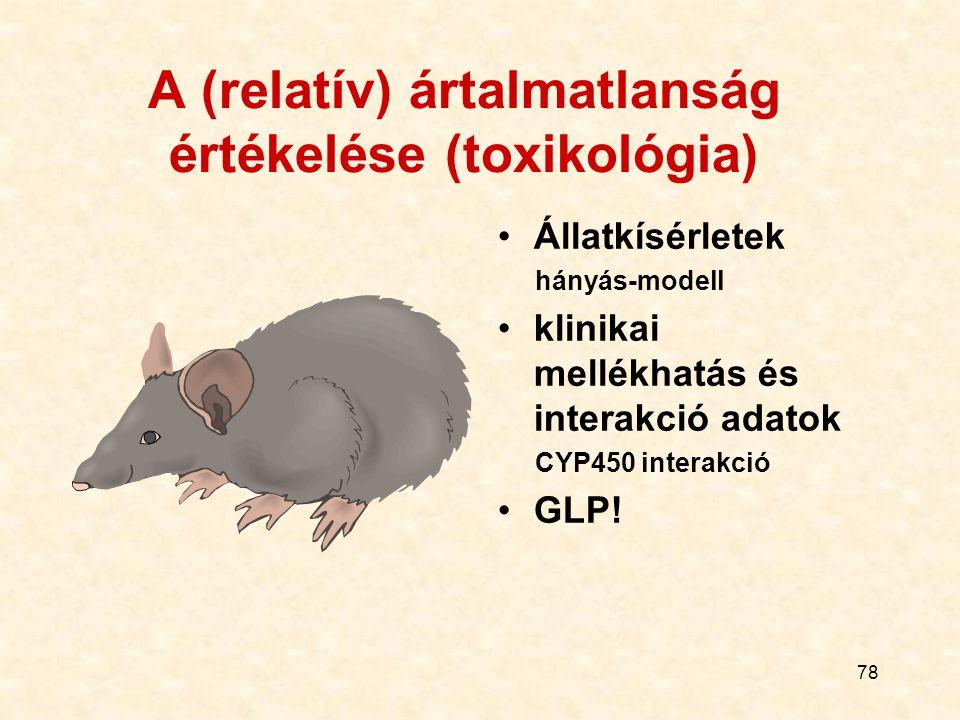 77 A (relatív) ártalmatlanság értékelése (toxikológia) Állatkísérletek Klinikai mellékhatás és interakció adatok