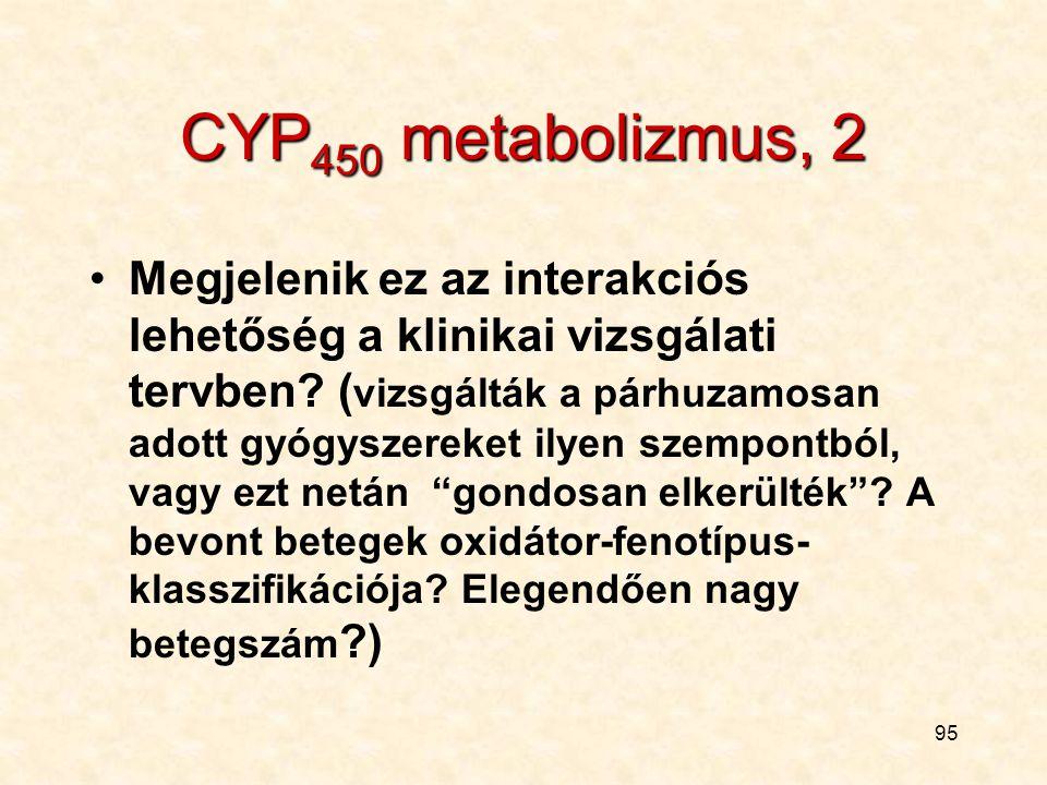 94 2. A következő példa: CYP 450 metabolizmus A kísérletes farmakológiai részben: O.K., a metabolizmus útját feltárták... De azért jó néhány egyéb kér