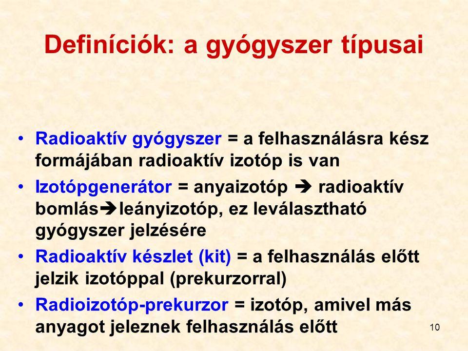 10 Definíciók: a gyógyszer típusai Radioaktív gyógyszer = a felhasználásra kész formájában radioaktív izotóp is van Izotópgenerátor = anyaizotóp  radioaktív bomlás  leányizotóp, ez leválasztható gyógyszer jelzésére Radioaktív készlet (kit) = a felhasználás előtt jelzik izotóppal (prekurzorral) Radioizotóp-prekurzor = izotóp, amivel más anyagot jeleznek felhasználás előtt