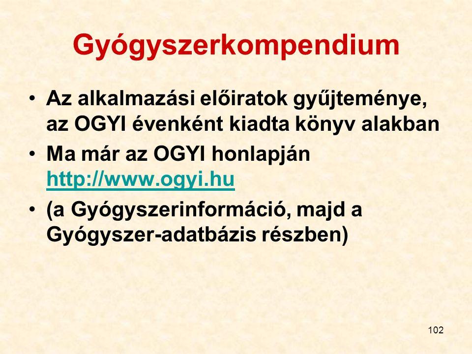 102 Gyógyszerkompendium Az alkalmazási előiratok gyűjteménye, az OGYI évenként kiadta könyv alakban Ma már az OGYI honlapján http://www.ogyi.hu http://www.ogyi.hu (a Gyógyszerinformáció, majd a Gyógyszer-adatbázis részben)