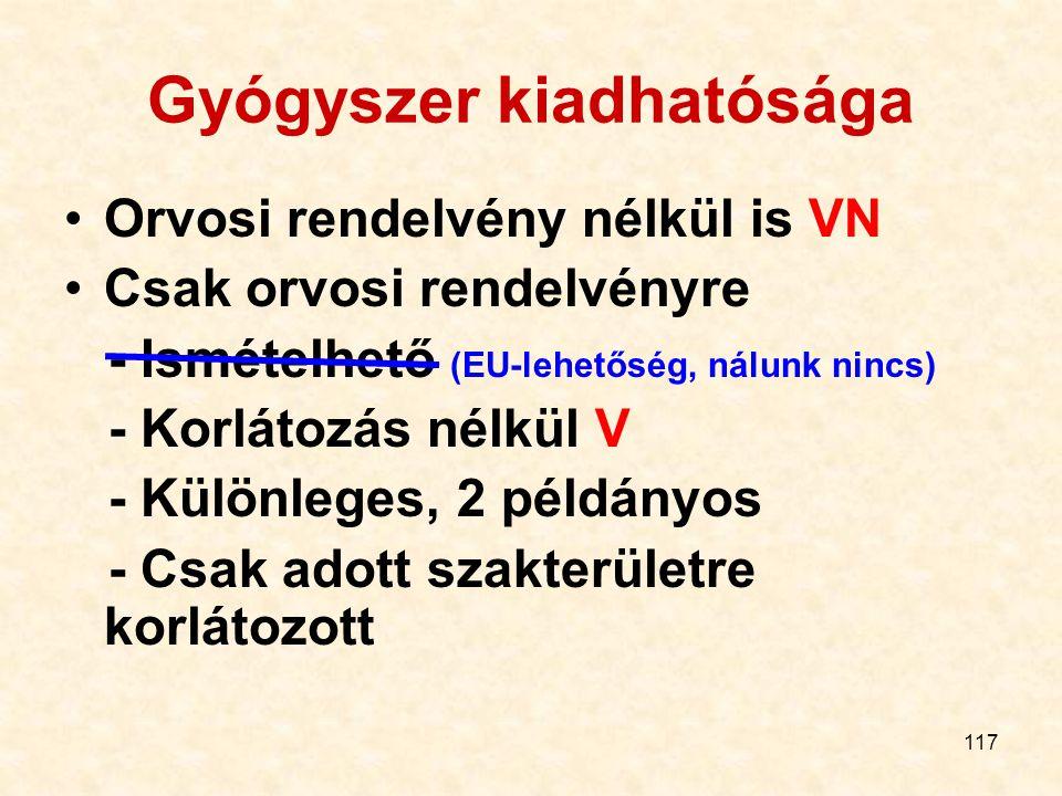117 Gyógyszer kiadhatósága Orvosi rendelvény nélkül is VN Csak orvosi rendelvényre - Ismételhető (EU-lehetőség, nálunk nincs) - Korlátozás nélkül V - Különleges, 2 példányos - Csak adott szakterületre korlátozott