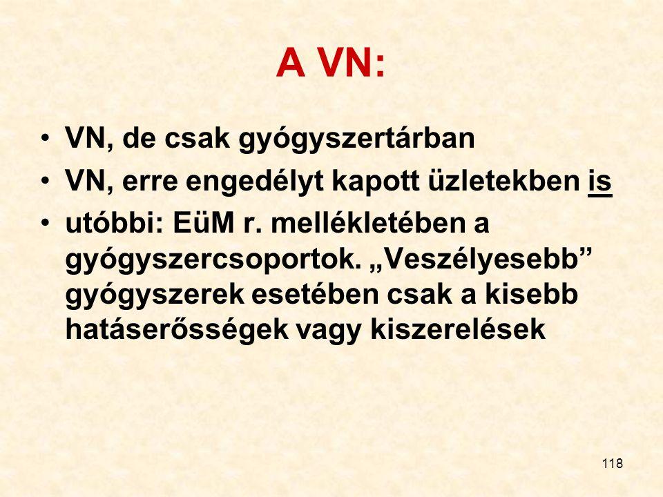 118 A VN: VN, de csak gyógyszertárban VN, erre engedélyt kapott üzletekben is utóbbi: EüM r.