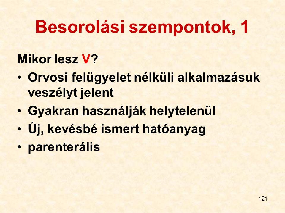 121 Besorolási szempontok, 1 Mikor lesz V.