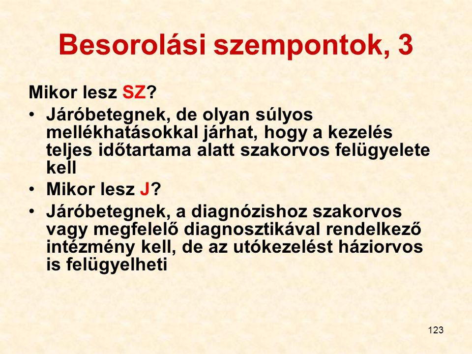 123 Besorolási szempontok, 3 Mikor lesz SZ.
