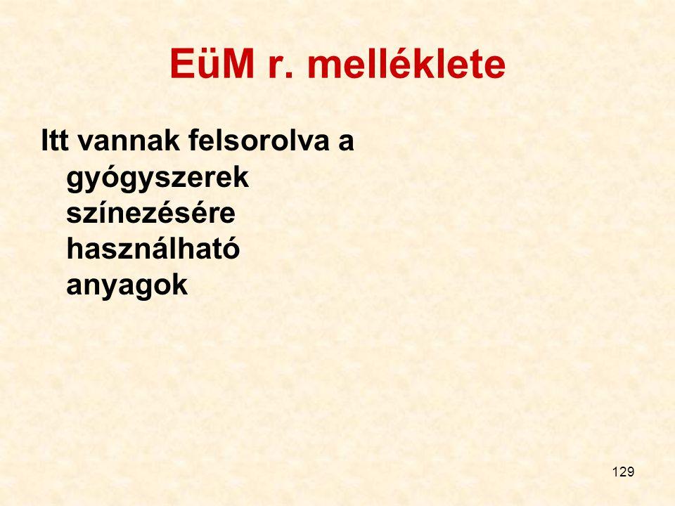 129 EüM r. melléklete Itt vannak felsorolva a gyógyszerek színezésére használható anyagok