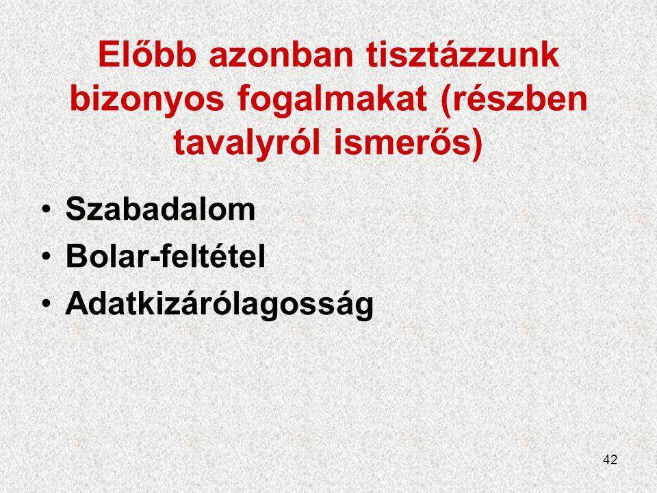 42 Előbb azonban tisztázzunk bizonyos fogalmakat (részben tavalyról ismerős) Szabadalom Bolar-feltétel Adatkizárólagosság