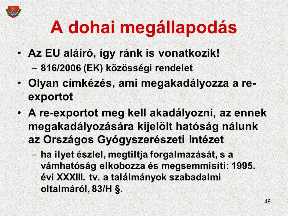 48 A dohai megállapodás Az EU aláíró, így ránk is vonatkozik.