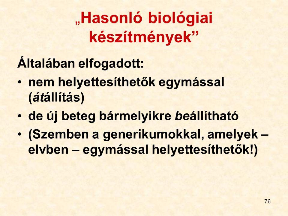 """76 """"Hasonló biológiai készítmények Általában elfogadott: nem helyettesíthetők egymással (átállítás) de új beteg bármelyikre beállítható (Szemben a generikumokkal, amelyek – elvben – egymással helyettesíthetők!)"""