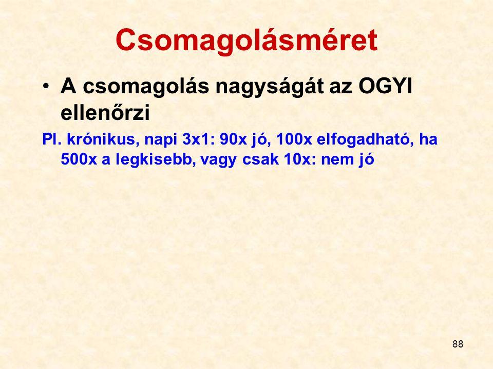 88 Csomagolásméret A csomagolás nagyságát az OGYI ellenőrzi Pl.