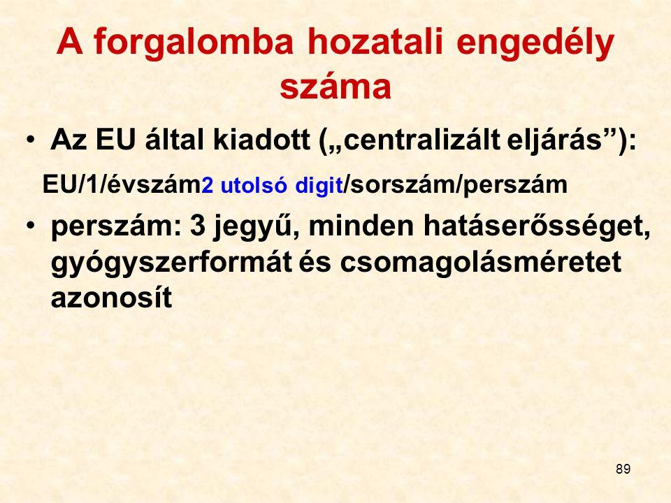 """89 A forgalomba hozatali engedély száma Az EU által kiadott (""""centralizált eljárás ): EU/1/évszám 2 utolsó digit /sorszám/perszám perszám: 3 jegyű, minden hatáserősséget, gyógyszerformát és csomagolásméretet azonosít"""