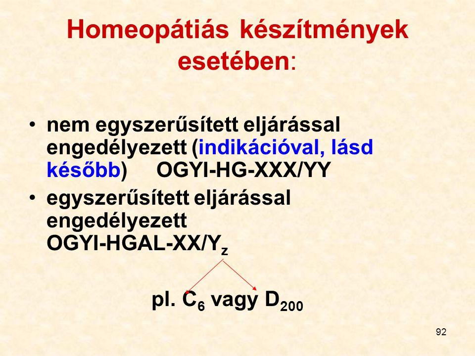 92 Homeopátiás készítmények esetében: nem egyszerűsített eljárással engedélyezett (indikációval, lásd később) OGYI-HG-XXX/YY egyszerűsített eljárással engedélyezett OGYI-HGAL-XX/Y z pl.