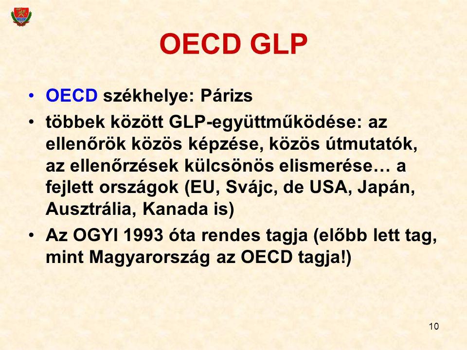 10 OECD GLP OECD székhelye: Párizs többek között GLP-együttműködése: az ellenőrök közös képzése, közös útmutatók, az ellenőrzések külcsönös elismerése