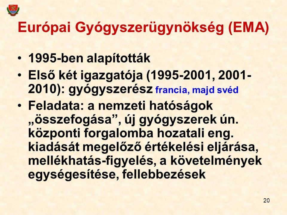 20 Európai Gyógyszerügynökség (EMA) 1995-ben alapították Első két igazgatója (1995-2001, 2001- 2010): gyógyszerész francia, majd svéd Feladata: a nemz